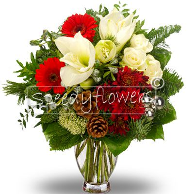 Bouquet with gerberas red amaryllis and green complement