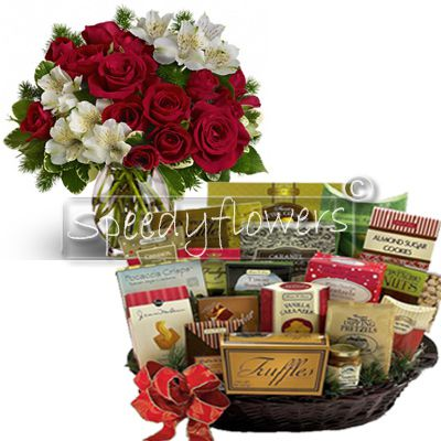 Buy online this beautiful Christmas bouquet with matched basket