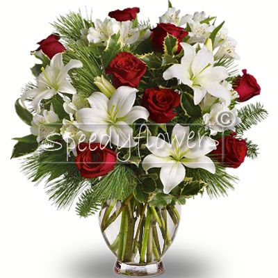 Christmas bouquet with lilies and roses