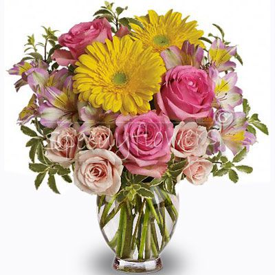 Elegante bouquet giallo e rosa per festeggiare un compleanno.Decidi di acquistare e spedire subito questo bouquet.