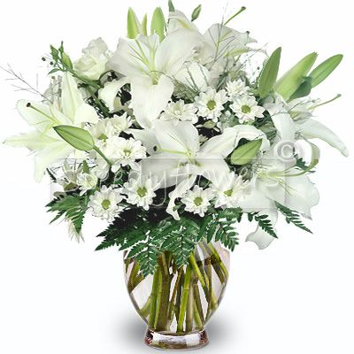 Lilium bouquet of chrysanthemums and white