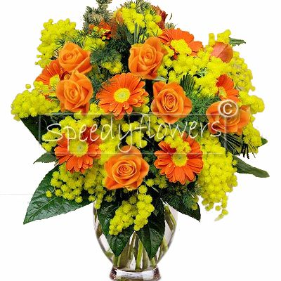 Mimosa Orange Bouquet of Roses and Gerberas