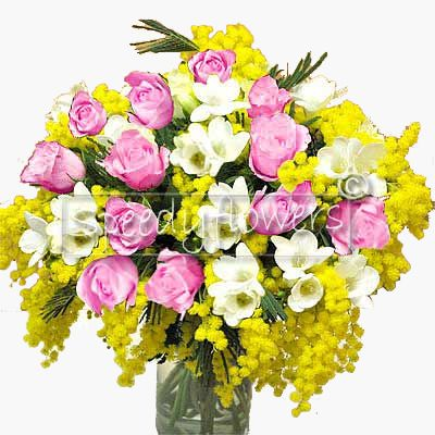 Bouquet di Mimosa e Rose Rosa