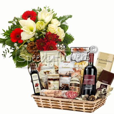 Bouquets Christmas with basket local products