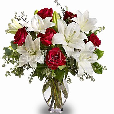 Bouquet of Red Roses and White Lilies.