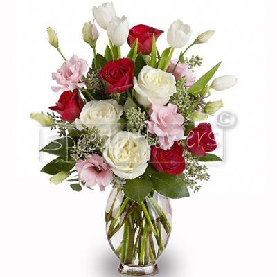 Red Roses and mixed flowers bouquet