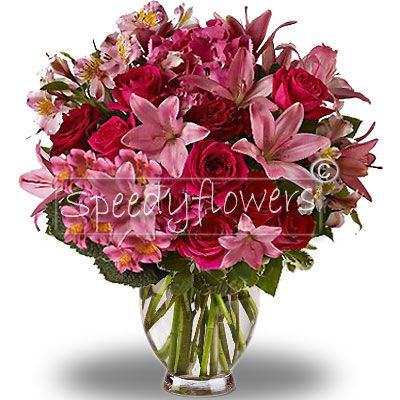 To give an emotion, surprise them with this bouquet of roses and lilies.