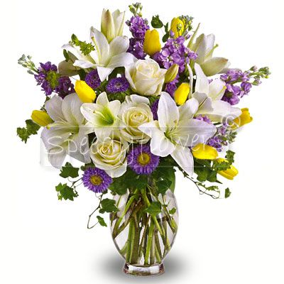 Birthday Bouquet with purple, yellow and white flowers