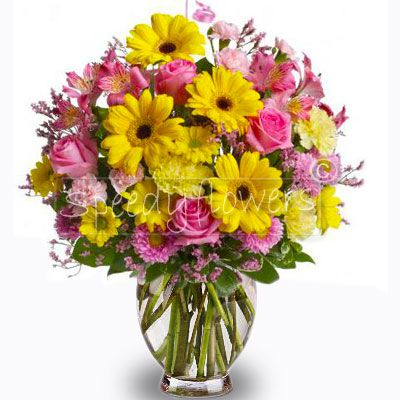 You could give this bouquet of gerbera and roses for a thank you.