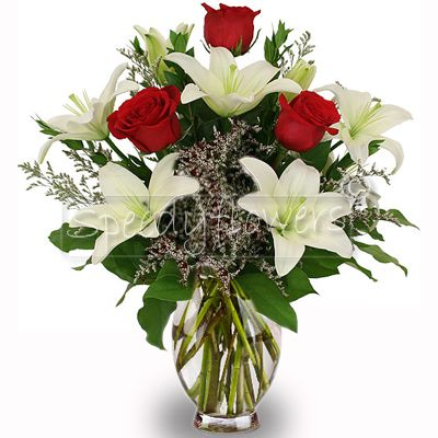 Give and gift this bouquet with red roses and white lilies