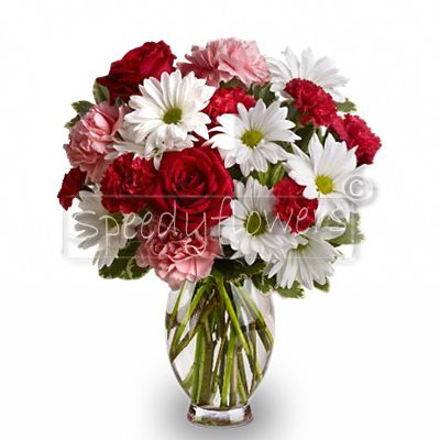 Bouquet of red roses, white and pink daisies