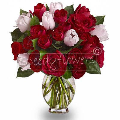 Roses and Tulips Bouquet in pink and red colors