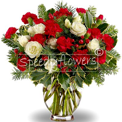 Bouquet with white roses and red flowers