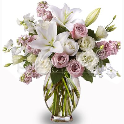 Anniversary Romantic bouquet with white and pink flowers