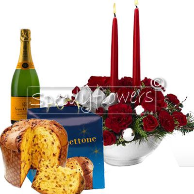 Give a emotion with our centerpiece, the package includes a panettone and sparkling wine
