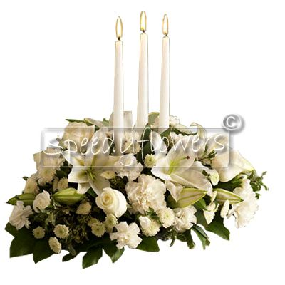 Giving Christmas centerpiece white  roses