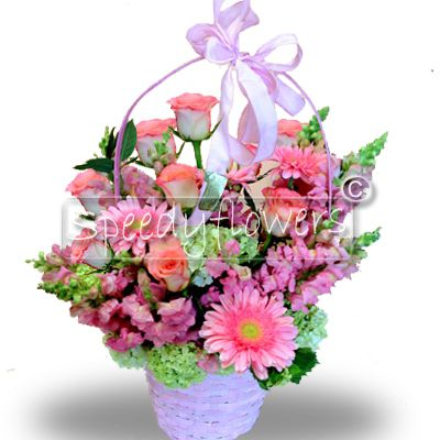 Flowering basket for a happy birth