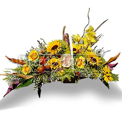 Sunflowers basket. Elegant and original, a very beautiful gift.