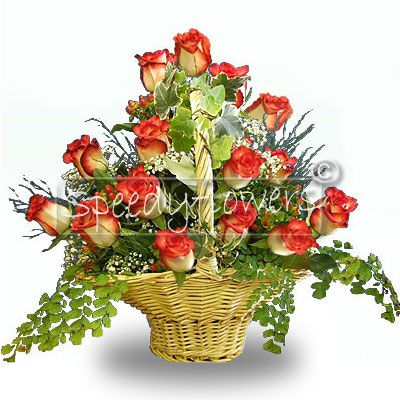 Gift idea for wedding anniversary. Beautiful basket of flowers.