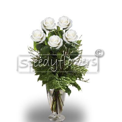 Five white Roses