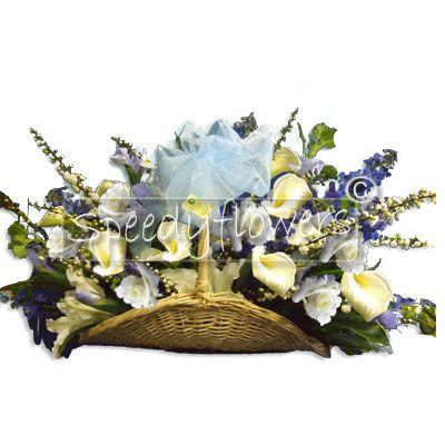 Birth flowering basket composition