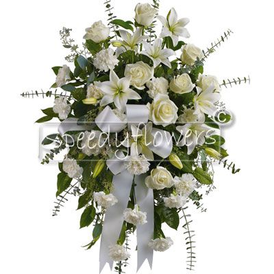 Funeral Composition with white roses and white lilies