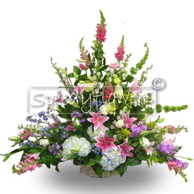 composition Funeral  with Flowers Mixed