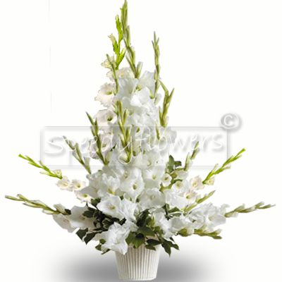 Funeral Composition of White Flowers in Vase