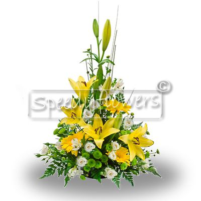 Composition of flowers for grief