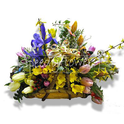 Composition of mixed and colorful flowers in basket