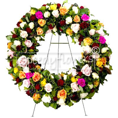 Funeral Wreath with Mixed Roses