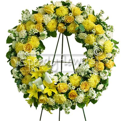 Funeral Wreath with flowers yellow