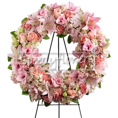 Pink Wreath for Funeral ceremony
