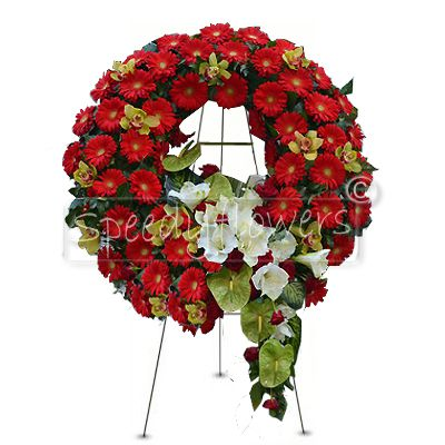 Funeral wreath with red flowers