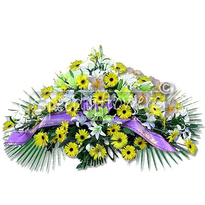 Funeral pillow with flowers for grief