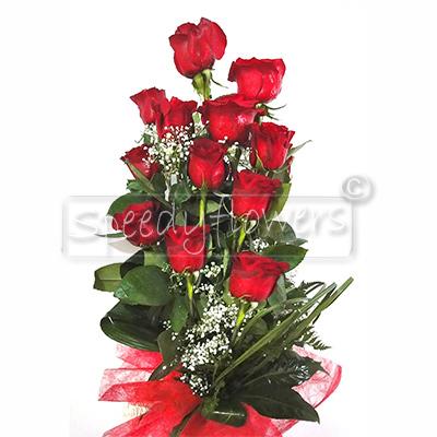 Scegli l'invio di dodici rose rosse alla nuova laureata.
