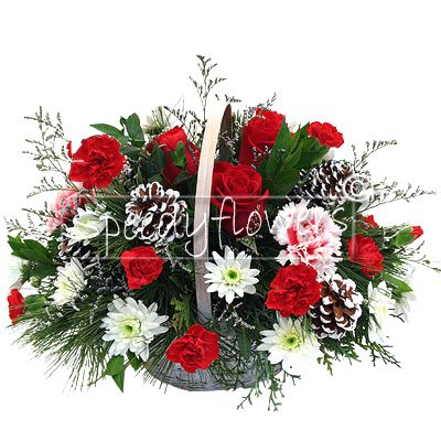 Lovely floral basket for Christmas