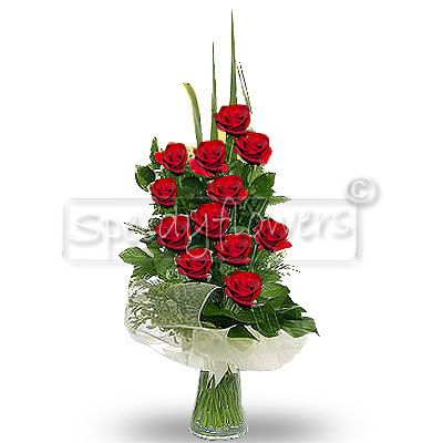 Intriguing bouquet of twelve red roses to give an emotion to someone you love.