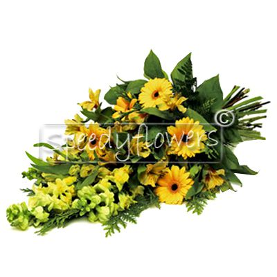 Bunch of yellow flowers for funeral