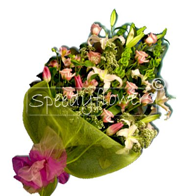 Buy this bunch of roses and lilies by our online flowers shop
