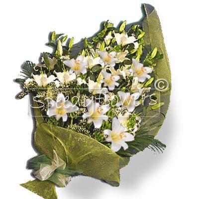 Mazzo di lilium bianchi per onomastico