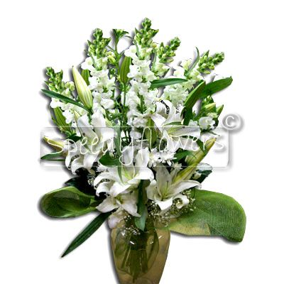 Bunch of Lilies and white Antirrhinum