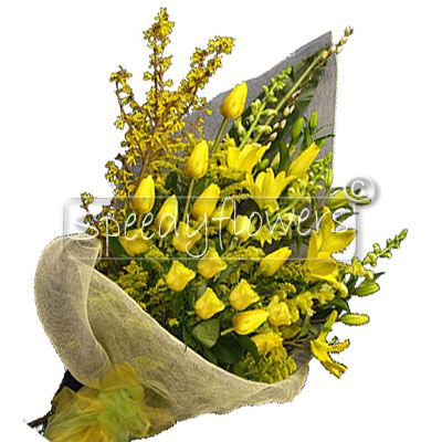 The best way to celebrate your anniversary, even from behind away is to send this beautiful bouquet with yellow roses.