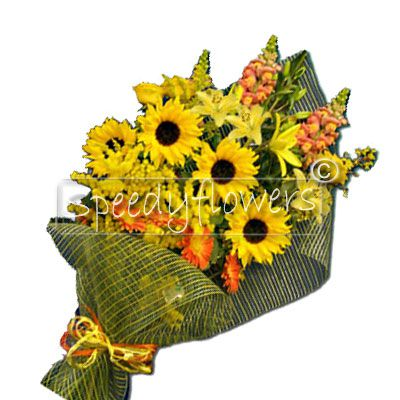 For a happy birthday we need to send flowers. Ask ships in Italy or the world of this bunch of sunflowers.