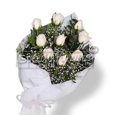 Nine white roses