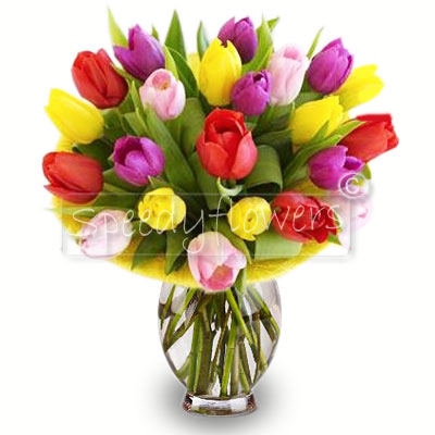 Bouquet of flowers with colorful tulips