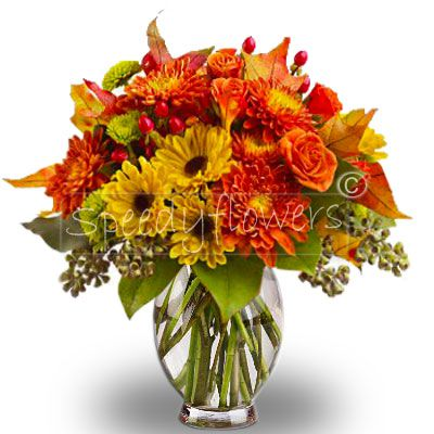 Bouquet with gerberas and roses autumn colors