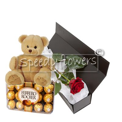 One red rose with teddy bear and chocolates for valentines'day