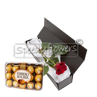One red rose and chocolates for valentines's day