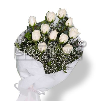 Eleven white roses